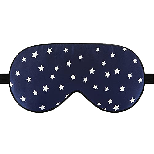Lonfrote Star Mulberry Silk Sleep Eye Mask for Women Men ,Sleeping Mask Blindfold with Adjustable Strap,Smooth Eye Shades Cover for Nap Yoga Travel (Blue)
