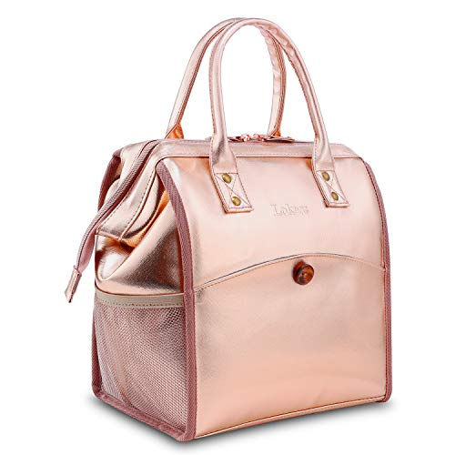 LOKASS Lunch Bag Cooler Bag Women Tote Bag Insulated Lunch Box Water-resistant Thermal Lunch Bag Soft Water-resistant Lunch Bags with wide-open for women (Rose Gold)
