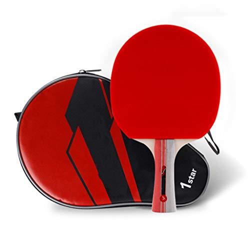 TOHOYOK Tabla Raqueta de Tenis, Principiante de Ping Pong Paddlet, Raqueta de Tenis de Mesa con Bolsa de Almacenamiento, 7-Capa de cartón álamo de Carbono (Color : Black+Red, Size : Long Handle)