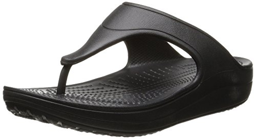 Crocs Crocs Sloane Platform Flip, Damen Offene Sandalen mit Keilabsatz, Schwarz (Black), 34/35 EU