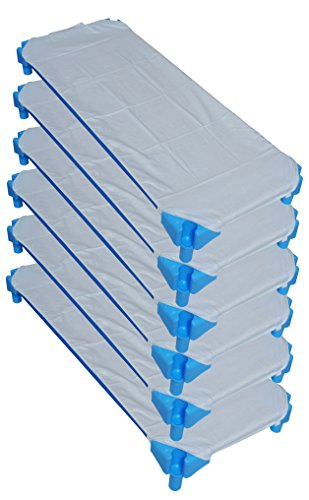Ti TIN - Pack de 6 Sábanas Bajeras para Cuna Apilable de Guardería | Lote de 6 Sábanas Bajeras 100% Algodón, 53x132 cm, Color Azul