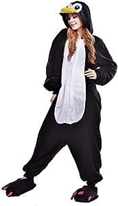 Pingüino Negro Pijamas Enteros Cosplay Adulto Ropa de Dormir Hombre Camisones Disfraces Carnaval Ropa Pijamas de Una Pieza Mujer
