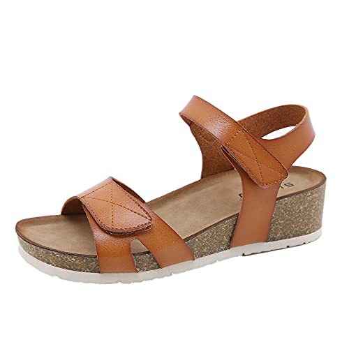 Zapatos de verano para mujer, cómodos tacones de cuña, sandalias romanas de ocio al aire libre, calzado para caminar por la calle, zapatos de playa