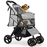 Pet Stroller for Cat Dog - 4 Wheels Foldable Traveling Lightweight Animal Gear Carriage for Small Medium Size Dogs & Cats Rabbit with Storage Basket (Gray)