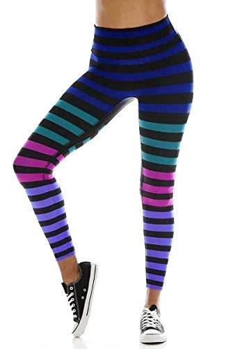 K-Deer Izzy Stripe Legging-Multi-XS Womens Active Workout High Waisted Yoga Leggings Multi