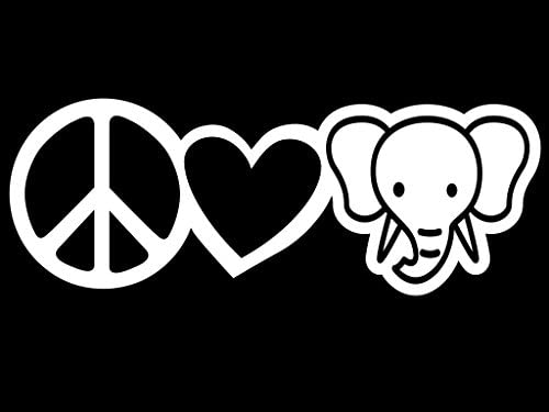 Peace Love Elephants Vinyl Decal Sticker Cars Trucks Vans Walls Laptops Cups White 7 5 X 2 7 product image