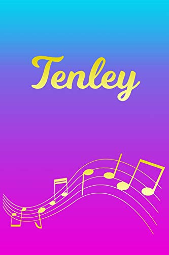 Tenley: Sheet Music Note Manuscript Notebook Paper – Pink Blue Gold Personalized Letter T Initial Custom First Name Cover – Musician Composer … Notepad Notation Guide – Compose Write Songs