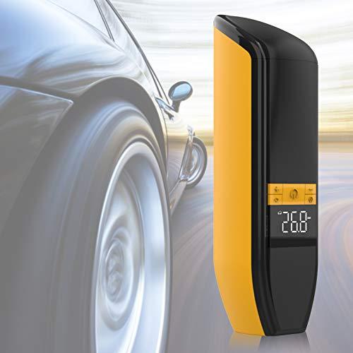 Tomantery Bomba de neumático Recargable humanizada reemplazable, Bolsa de Almacenamiento de Boquilla de Aire de plástico, Cargador de Coche USB, Cable, Aguja de Bola para automóvil(Yellow)