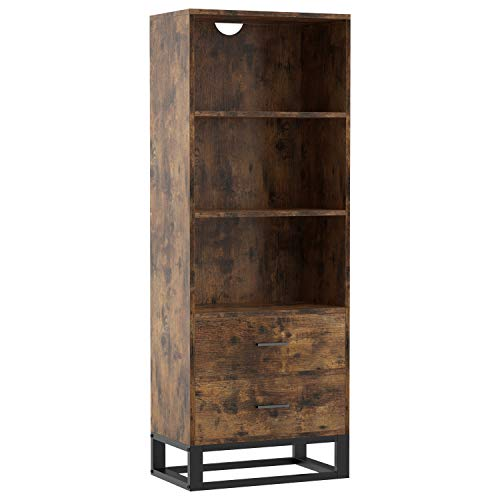 IRONCK Industrial Bookcase with Drawers, 3-Tier Small Book Case for Living Room, Office, Library, Storage Cabinet for Books, Photos, Decorations, Industrial Brown