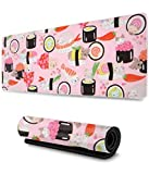Cat Sushi Gaming Mouse Pad XL,Extended Large Mouse Mat Desk Pad,Stitched Edges Mousepad,Long Non-Slip Rubber Base Mice Pad,31.5X11.8 Inch