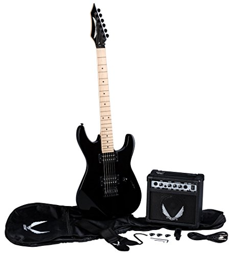 Dean Guitars 6 String Dean Custom Zone Solid Body Electric Guitar Pack - Classic Black with Amp & Acc, Right (CZONECBKPK)