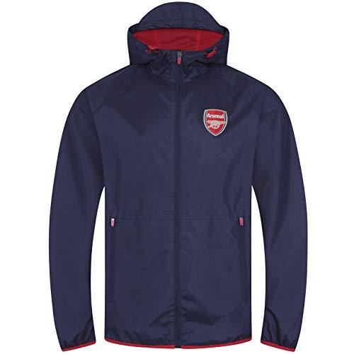 Arsenal FC - Chaqueta Cortavientos Oficial - para Hombre - Azul Marino - Capucha con Visera - Pequeña