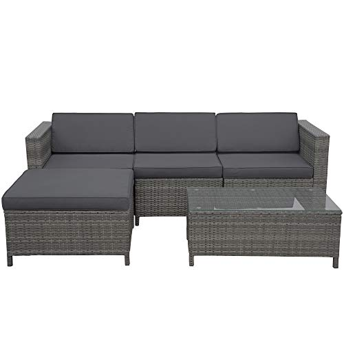 Outdoor Patio Furniture Set, 5 Pieces All-Weather Grey Wicker Rattan Outdoor Sectional Small Patio Sofa Set Couch Conversation Set w/Ottoman, Dark Grey Washable Cushions