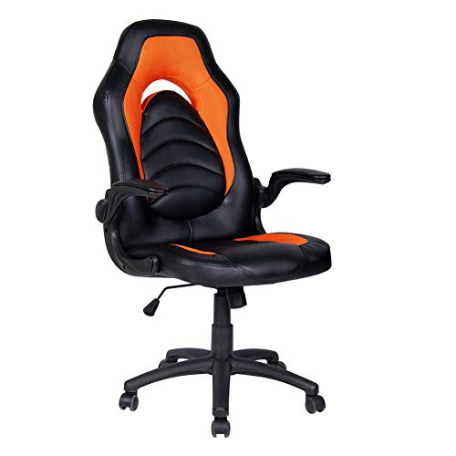 Polar Aurora Office Chair Leather Desk High Back Ergonomic Adjustable Racing Chair Task Swivel Executive Computer Chair (Orange)