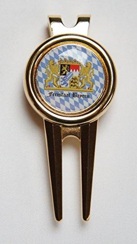 Pitchgabel mit Golfball Marker FREISTAAT BAYERN Golfgeschenk