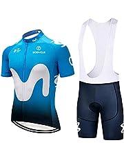 Kort cykeltröjor uppsättning för män Kortärmad cykeltröja + Bib Shorts MTB Team Clothing Sommar Sportkläder-BLÅ_L