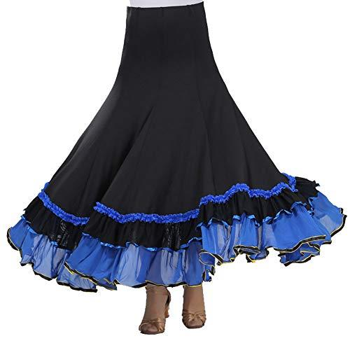 Damen Flamenco Dance Lange Rock Maxirock Tanzrock Faltenrock Tango Latein Walzer Bauchtanz Ballroom Wettbewerb Kostüm Saphirblau Einheitsgröße