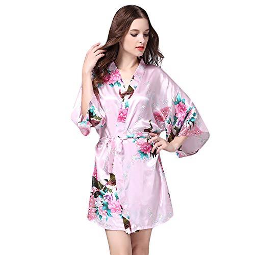 Dtuta Femmes Imprimé De Fleurs Sexy Dressing Lingerie Robe Dentelle Sexy Longue Kimono De Soie Robe De Babydoll Dentelle Bain Noir Rose