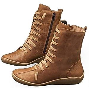 Panpany Stivali Donna alla Caviglia Scarpe Piatte Cerniera Solida Stile Vintage Stivaletti Boots Primavera Inverno Stivale Stivaletto