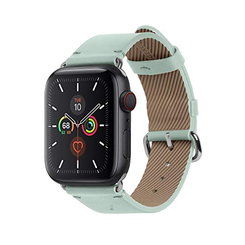 Native Union Klassisches Uhrenarmband für die Apple Watch 38/40mm – Echtes Italienisches Nappaleder Edelstahlelemente mit Weichem Nubuk-Futterleder(Salbei)