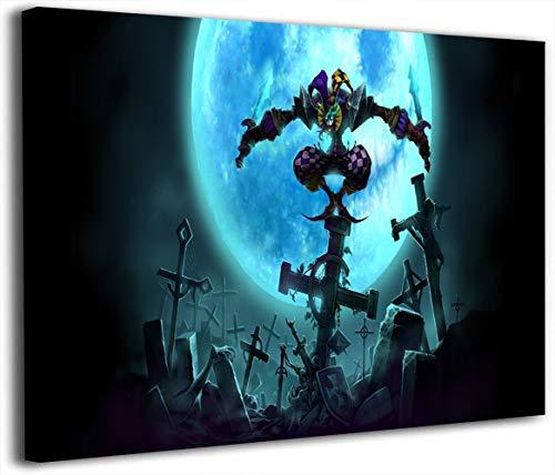 Póster de League Legends en lienzo con diseño de videojuegos, 60,96 x 91,44 cm, diseño de Shaco real