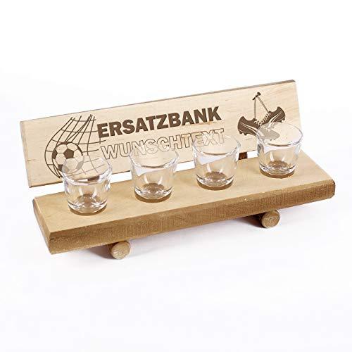 Cera & Toys® Fußball Ersatzbank als Schnapsbank inkl. 4 Schnapsgläser mit Gratis Gravur Ihres Wunschtextes