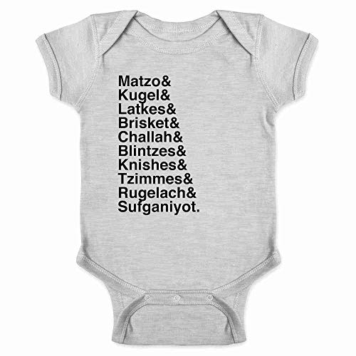 Pop Threads Hanukkah Nosh Foods Ampersand List Funny Jewish Gray 6M Infant Baby Boy Girl Bodysuit