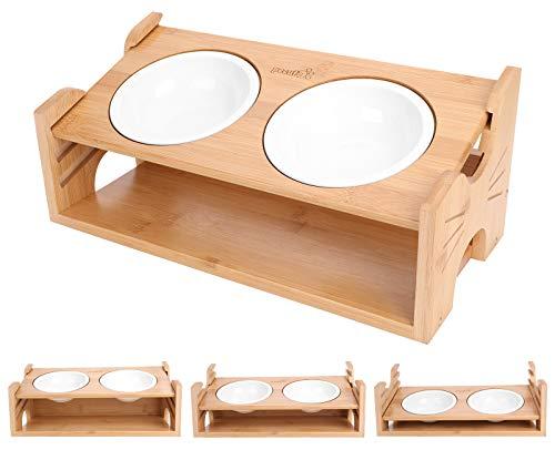 Pecute Erhöhter Fressnapf für Katzen und Hunde,15 ° geneigte Keramik Doppel Schüsseln,Hundenäpf Katzennäpf mit Bambus-Halter und rutschfesten Füßen,für Katzen und kleine Hunde geeignet
