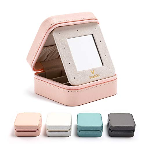 Vee Travel Jewelry Box with Mirror, Small Jewelry Organizer Display Storage Case for Women Girls Earrings Rings Necklaces (Pink)