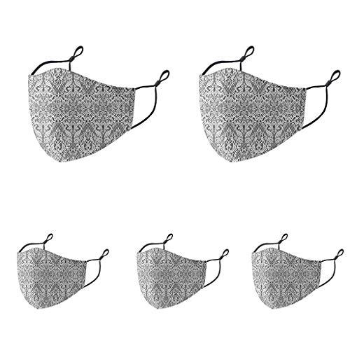 Reasoncool Μäsᴋᴇ 5pcs Allgemeine Atmungsaktive Bandana Waschbare Mehrzweck Spitzen Sonnenschutz Elastizität Hängendes Ohr Seamless Schal