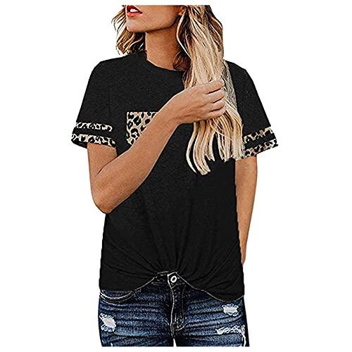Dasongff Camisetas de verano de cuello redondo de manga corta para mujer, estilo informal, de manga corta, para verano, informales, para vacaciones, sueltas