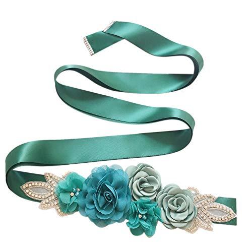 Cinturón de mujer con cristales brillantes para boda, flores, cinturón de perlas,...