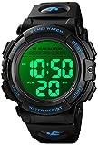 Men's Digital Sports Watch Military Multifunction Dual Time Stopwatch Alarm Backlight 50M Waterproof Watch (Blue)