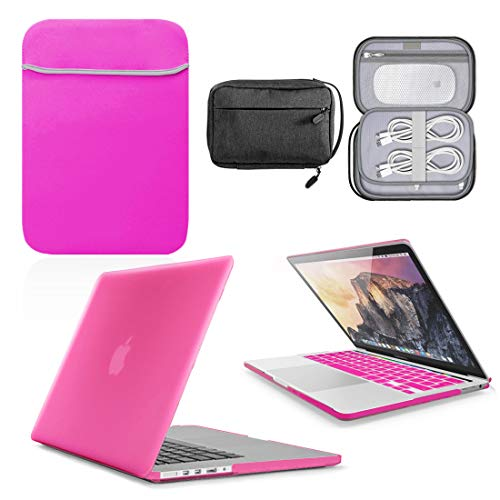 GUPi - Hot Pink Hard Shell Case, Cover with matching Neoprene Sleeve & Water Resistant Accessory Bag for Apple MacBook Air [13-inch MacBook Air A1369 / A1466] - 2010-2017