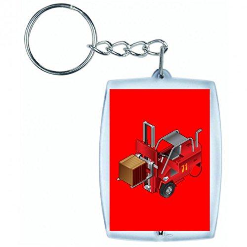 "Schlüsselanhänger \""GABELSTAPLER- LKW- AUTO- AUFZUG- FAHRZEUG- FABRIK- VERKEHR- LAGERUNG- ARBEIT- FRACHT- INDUSTRIE\"" in Rot | Keyring - Taschenanhänger - Rucksackanhänger - Schlüsselring"