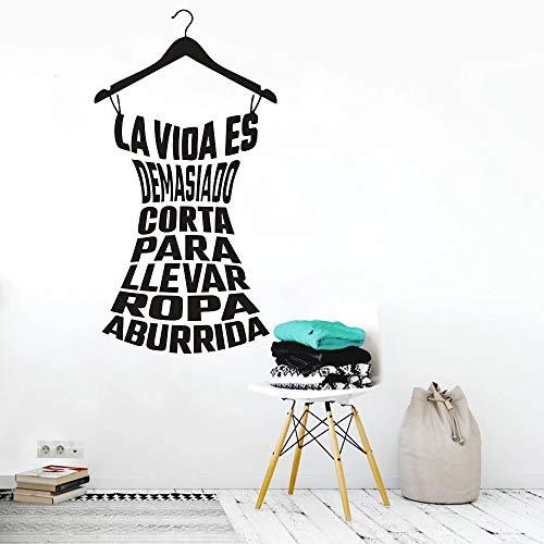 HGFDHG España Cita Pegatinas de Pared decoración del hogar Perchas de lavandería Vinilo Pared Taller de Costura Ventana Arte Pegatinas de Pared