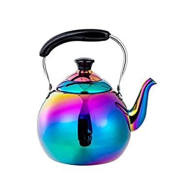 Whistling Tea Kettle for Induction Gas Stove Top Stainless Steel Teakettle Tea Pot Hot Water Boling Teapots Rainbow 2 Quart 68 Ounce Mirror Polished