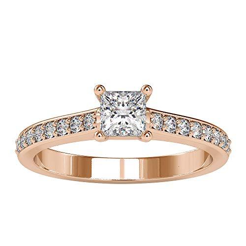 Rosec Jewels 18k dorado rosa Prinzessin Zeiger Runde Diamond