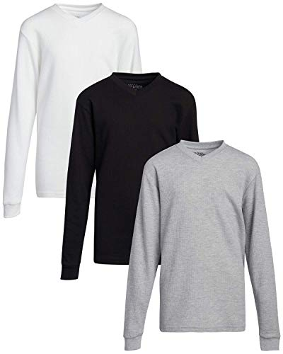 Galaxy by Harvic Boys Base Layer T-Shirt - Long Sleeve Thermal Undershirt (3 Pack), White/Black/Heather Grey V-Neck, Size M