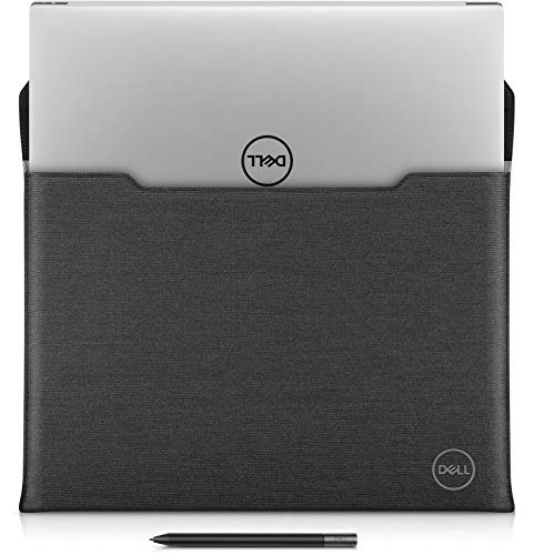 Dell PREMIUM SLEEVE 15 15 inch Laptop Sleeve Case with Magnetic Snap Button in Black Leather with Grey Heather Exterior for Precision Mobile Workstation 5550, XPS 15 9500