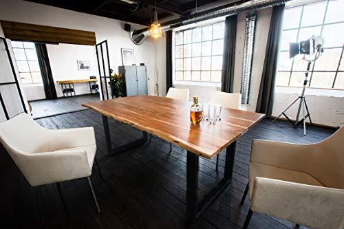 KAWOLA Esstisch 140x85cm massiv mit Baumkante Fuß schwarz