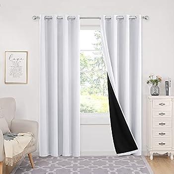 Set of 2 Deconovo White 84 Inch 100% Blackout Curtain