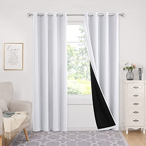 Deconovo White Blackout Curtain, 84 Inch 100% Blackout Curtains, Thermal Insulated Total Light Blocking Window Drape Curtains for Kids Room Living Room Bedroom, Set of 2, 52x84 in, Grayish White
