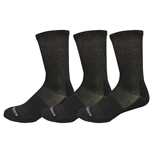 New Balance Kids Unisex 3 Pack Crew Socks, Small, Black