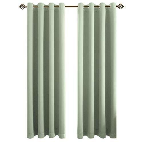 FLOWEROOM Blickdichte Gardinen Verdunkelungsvorhang - Lichtundurchlässige Vorhang mit Ösen für Schlafzimmer Geräuschreduzierung Meeresgrün 260x140cm(HxB), 2er Set