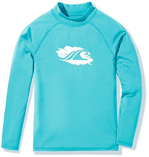 TSLA Girls Long Sleeve Rash Guard Swimsuit, UV/SPF Water Beach Surf Swim Shirt, UPF 50+ Sunscreen Swimwear Shirts, Wave(gsr20) - Aqua, 14 Large
