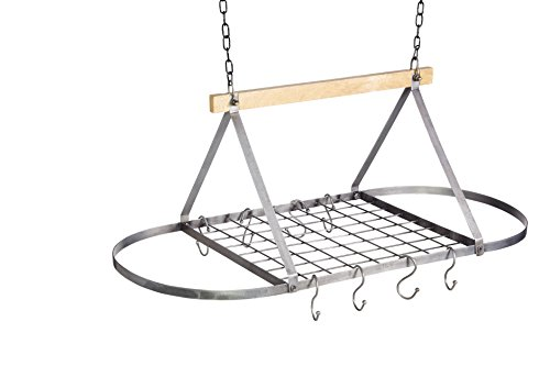 KitchenCraft INDCEILRACK Industrial Kitchen Vintage-Style Ceiling Hanging Pot & Pan Rack, 32.5 x 80.5 x 40 cm (1' x 2.5' x 1.5, Distressed Metal, 80,5 x 40 x 32,5 cm