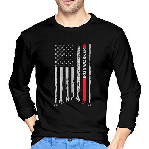 Jukuweha Ironworker American Flag Men's Long Sleeve T-Shirt Sweatshirt Pullover Black
