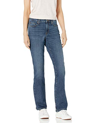 Amazon Essentials Women's Mid-Rise Authentic Bootcut Jean, Medium Destructed, 8 Regular
