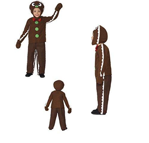 Kids Little Gingerbread Man Fancy Jurk Kostuum, Met Top, Broek en Hoofdstuk Kerstmis Wereld Boek Dag Plezier Run Shrek SALE (M 35939)